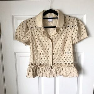 RED Valentino short sleeve collared eyelet top